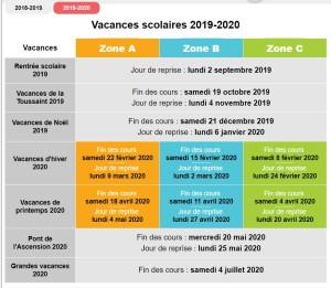 calendrier 2019 2020