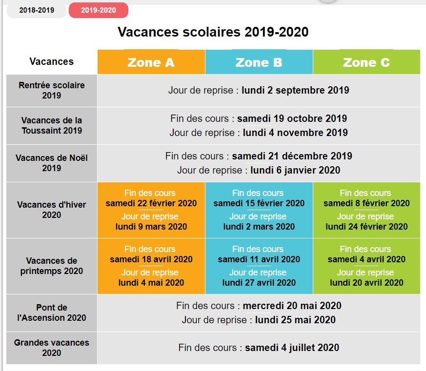 Calendrier Des Vacances Scolaires 2020 2019.Calendrier Scolaire 2019 2020 Association Un Pour Un